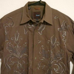 Roar Long Sleeve Button Shirt Large Olive Green